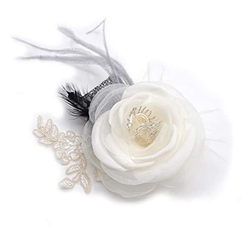 LIDA LYDI - Spilla a forma di fiore, in tessuto di organza, tulle e piume.