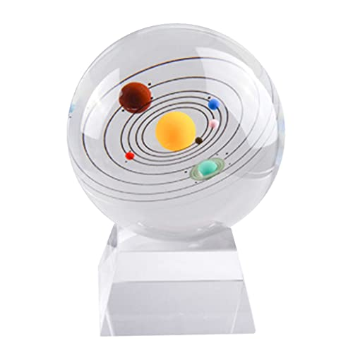 KLOVA Ball Ornaments, Solar System Eight Planets 3D Crystal Ball Ornaments with Base Elegant Feng Shui Home Decoration Crafts-Transparent