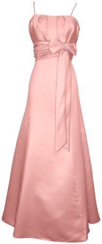 Big Sale 50s Style Long Satin Prom Dress Bridesmaid Gown With Bow Junior Plus Size, 2X, Pink