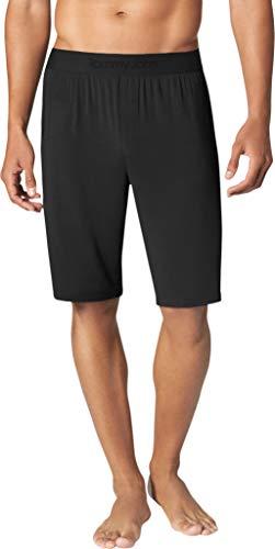 Tommy John Men's Second Skin Pajama Shorts - Comfortable Soft Sleep & Lounge Bottoms for Men (Elastic Band, Black, Large)