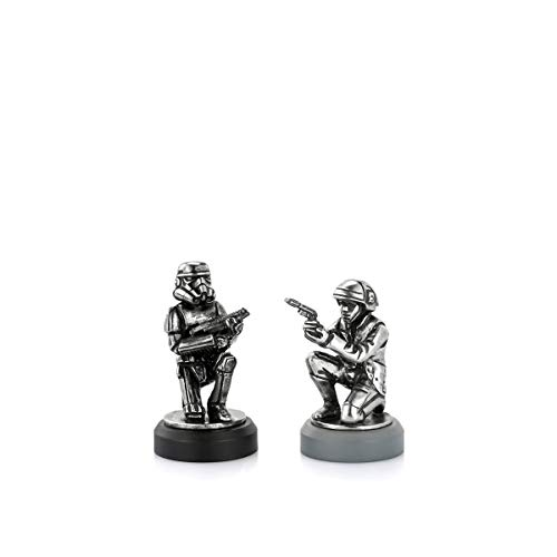 Royal Selangor Hand Finished Star Wars Collection Pewter Rebel Trooper & Stormtrooper Pawn Chess Piece Pair Gift image