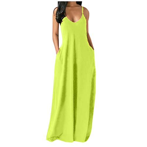 Kleid Damen Mode Plus Size Solid Ärmellose O-Neck Taschen Camisole Long Dress (3XL,1minzgrün)