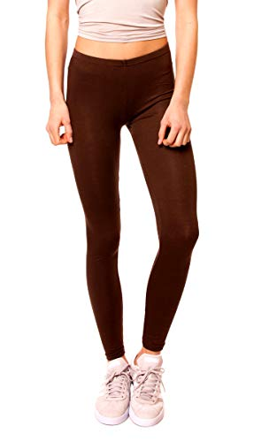 Easy Young Fashion Damen Basic Viscose Jersey Leggings Leggins Lang Uni Einfarbig One Size Dunkelbraun