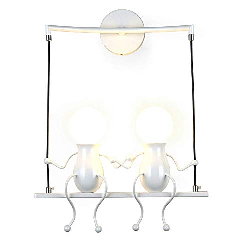 Lampada da parete Applique da parete Industrial Regolabile in Metallo Lampade Da Parete Interno Lampade Rustiche E27 Luce Proiettore (Bianco, 28)