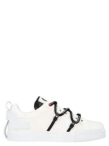 Moda   Dolce E Gabbana Hombre CS1783AJ98689697 Zapatillas De Cuero Blanco   Primavera Verano 20
