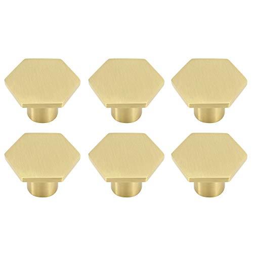 Sechskant-Möbelknöpfe aus massivem Messing, Schrankgriff aus reinem Kupfer mit Schrauben für die Schranktür, Schranktüren und Kommodenschubladen (30 mm * 21 mm) (6 Stück)