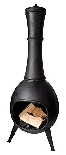 Esschert Design Terrassenofen, Terrassenkamin, bauchige Form, aus Gusseisen, Größe L, ca. 53 cm x 53 cm x 144 cm