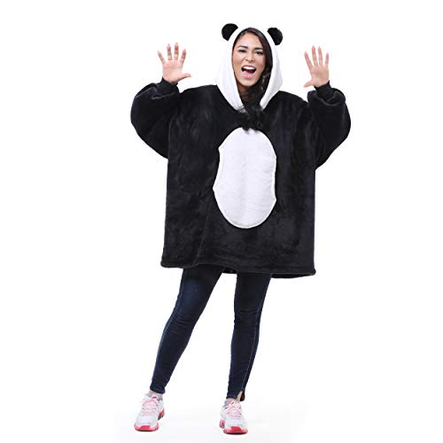 Panda Oversized Sherpa Hoodie Blanket Sweatshirt,Super Soft Warm Comfortable Cute Giant Pullover with Large Front Pocket for Women Boys Girls Teens Children Youth,Gift Idea