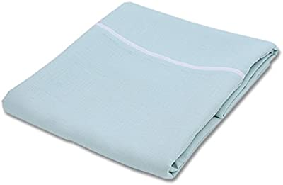 """LinenMe Duvet Cover Mint with White Piping Linen 68x86 Inch, 68"""" x 86"""""""