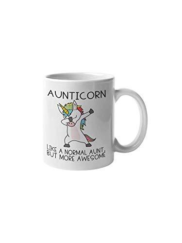 Taza de café con unicornio de Aunticorn | Like an Aunt but Only Awesom Dab | Divertida y linda motivación | Idea de regalo para sobrina | Taza de té de cerámica blanca de 12 onzas CMP00215