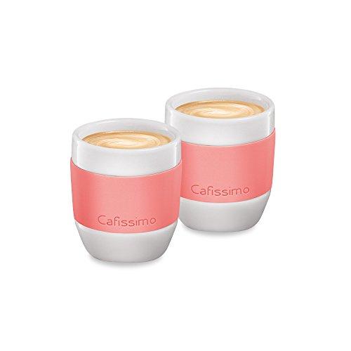 Tchibo Cafissimo Becher oder Tassen aus Porzellan mit Silikonmanschette, 2er Set (Espressotassen, Koralle)