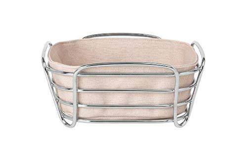 Blomus Brotkorb Rose Dust L - Brotkörbchen aus verchromtem Stahl und Baumwoll-Stofftasche