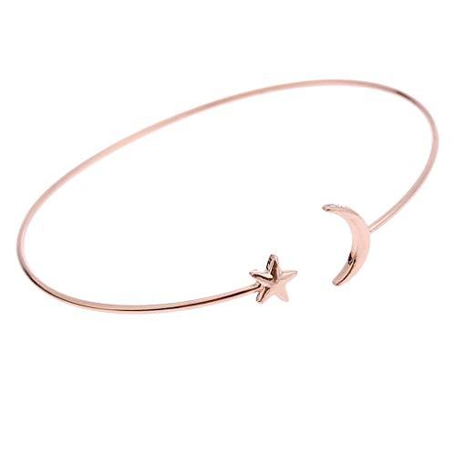 #N/A/a Señoras Simple Estrella Brazalete Abierto Brazalete de Metal Pulsera Ajustable Joyería de Fiesta - Oro Rosa