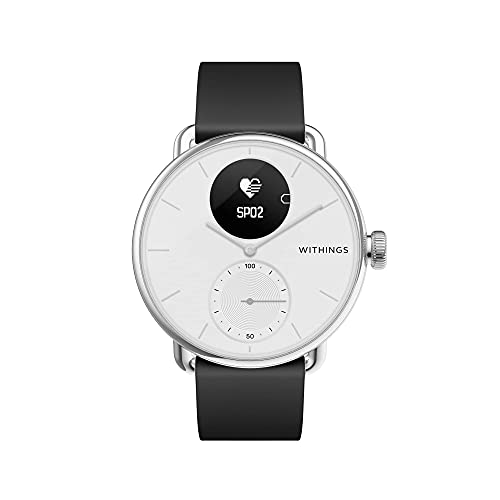 Withings ScanWatch - Reloj inteligente híbrido con ECG, tensiómetro y oxímetro, 38 mm, Blanco