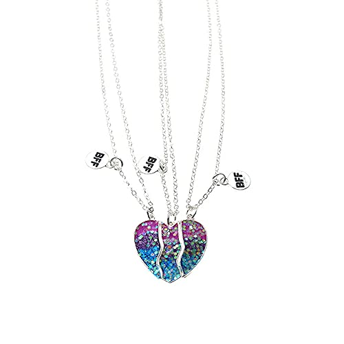 Collares Para Mujer,925 Sterling Silver Pendant Simple Bff Heart-Shaped Clavicle Necklace Crystal Zirconia 925 Sterling Silver Pendant Necklace Suitable For Men And Women Fashion Simple Birthday