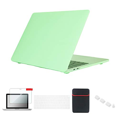 Se7enline 2018/2019/2020 MacBook Air Case 13 inch Hard Cover for MacBook Air 13-Inch with Touch ID Model A2337/A1932/A2179 with Sleeve Bag, Keyboard Cover, Screen Protector, Dust Plug, Melon Green