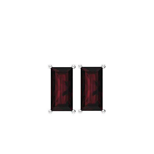 Juego de puntas de 2,76 ct Baguette SGL Certified Granate Stud Pendiente, Solitario Rojo Piedra Mujer Cómodo Aretes, Enero Birthstone Vintage Bodas, tornillo hacia atrás