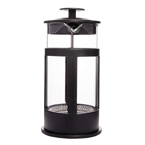 BiggCoffee French Press mit Edelstahl-Filter, Kaffeebereiter aus Borosilikatglas, Stempelkanne, kleine Kaffeekanne, Teebereiter,hitzebeständig, schwarz, 350 ml(2 Tassen)
