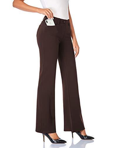 Tapata Mujer 76cm Pantalones Bootcut Elásticos con Bolsillos, Pequeño/Regular/Alto para Oficina Negocios Casual Marrón M