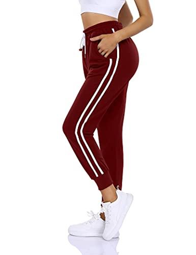 KOJOOIN Pantalon De Sport pour Femme Jogging Long Pantalon D'Entraînement Ample avec Poches Et Cordon De Serrage,Pantalon Décontracté Pantalon De Jogging Taille Haute en Vin Rouge 3 XL