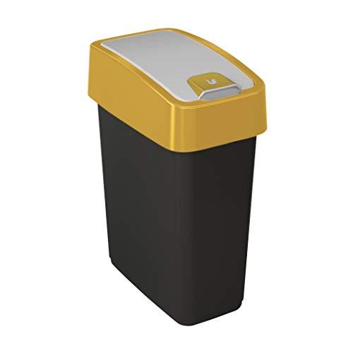 keeeper Cubo de la Basura Premium con Tapa Abatible, Tacto suave, 10 l, Magne, Amarillo