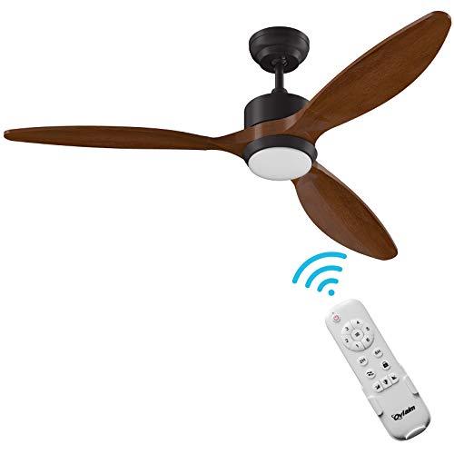 Ovlaim Ventilador de techo LED de 52 pulgadas con motor de CC ventilador de techo con ventilador de techo de madera clara con control remoto, 3 colores que cambian para sala de estar, dormitorio