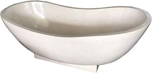 Guru-Shop Freistehende Terrazzo (Stein Terrazo) Badewanne, Beige - Modell 3, 61x79x168 cm, Waschtische, Waschbecken & Badewannen