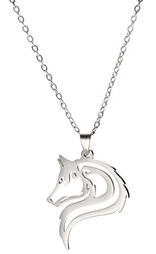cooltime Wolf Halskette mit verstellbarer Gliederkette Edelstahl rund Anhänger