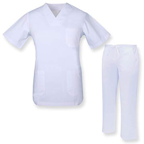 MISEMIYA - Unisex-Schrubb-Set - Medizinische Uniform mit Oberteil und Hose ref.817Q8 - XX-Large, Weiß