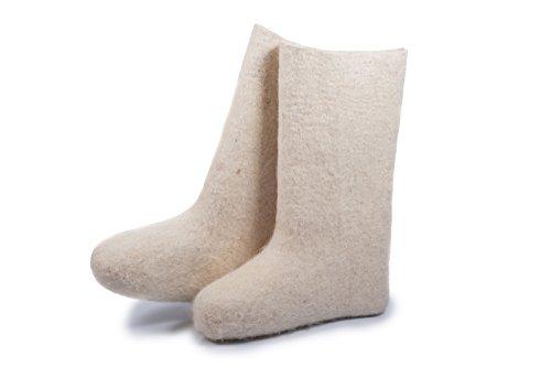 Lammfellstiefel natürliche wärmende Winterstiefel aus Russland(Valenki) – weiße – Barfußschuhe (38 EU)
