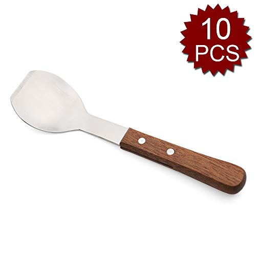 (Pack of 10) Aspire Stainless Steel Ice Cream Scoop, Ice Cream Spade Spoon, with Wood Handle-Wooden/10PCS