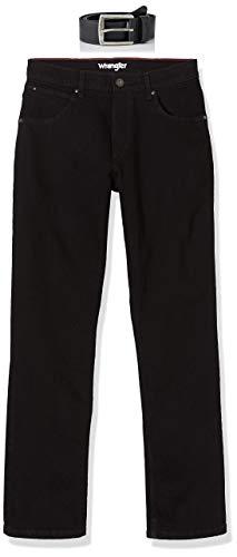 Wrangler Herren Authentic inklusive Gürtel Straight Jeans, Schwarz, 36W / 34L