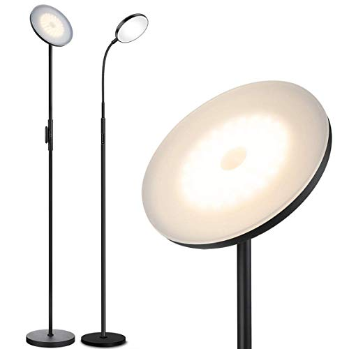 12W Black+30W Black JOOFO Standing Lamp Stepless Dimmer Torchiere Floor Lamps for Living Room Bedroom Office