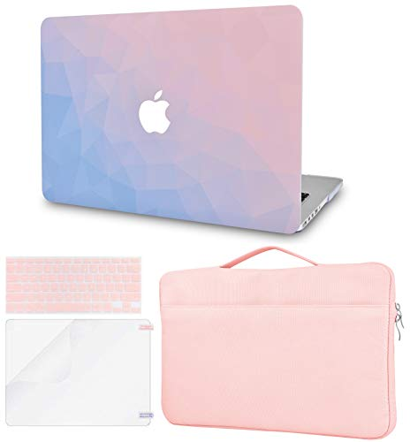 LuvCase 4 in 1 Laptop Case For MacBook Air 13 Inch A1466 / A1369 (No Touch ID)(2010-2017) Hard Shell Cover, Sleeve Bag, Keyboard Cover & Screen Protector (Ombre Pink Blue)