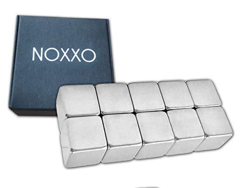 NOXXO XL Neodym Magnete Würfel 10mm Extra Stark [10 Stück] inkl Schachtel für Glastafel Memoboard Magnettafel Whiteboard Glasmagnettafel