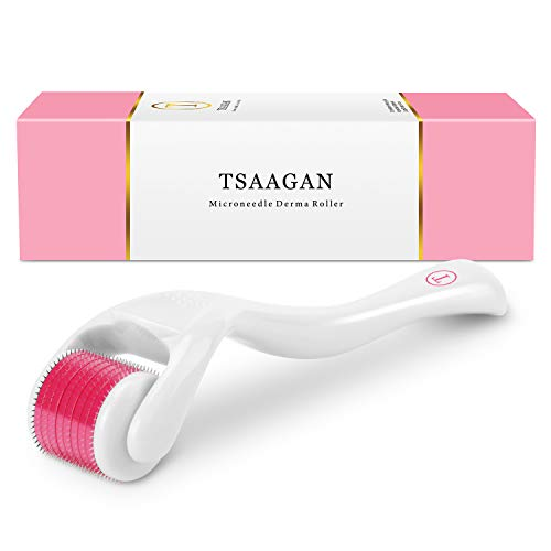 Derma Roller, TSAAGAN 0.25mm Titanium Micro Needle Cosmetic Microneedle Roller Kit For Face and Body, Microdermabrasion Roller, Includes Storage Case