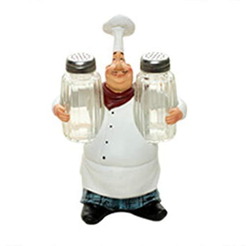 Soapow Figura de chef de resina, adorno de cocina, regalo de inauguración de la casa, decoración para el hogar, bar, tienda, restaurante, café, mesa