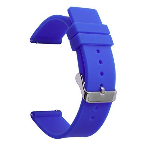 RHBLHQ 12 14 16mm 18 mm 20 mm 22 mm 24 mm Liberación rápida Silicona Sport Band Correa Pulsera de la Banda de Reloj Correa de Silicona (Band Color : Dark Blue, Band Width : 18mm)