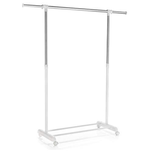 CARO-Möbel Rollgarderobe SALA Garderobenwagen Kleiderständer weiß höhenverstellbar und ausziehbar