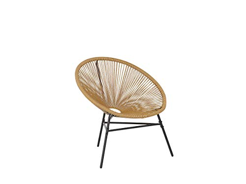 Beliani Gartenstuhl mexikanischer Stuhl sandbeige Rattanstuhl Acapulco
