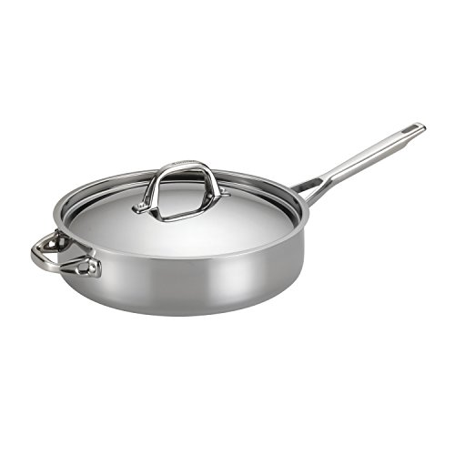 Anolon Triply Clad Stainless Steel Saute Pan / Frying Pan / Fry Pan with Lid and Helper Handle - 5...