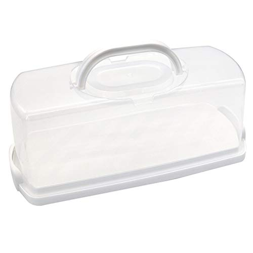 Portable Bread Box Plastic Rectangular Loaf Bread Box with Clear Lid and Handle 13inch Cake Container Keeper for Storing and Transporting Loaf Cakes, Banana Bread, Pumpkin Bread White
