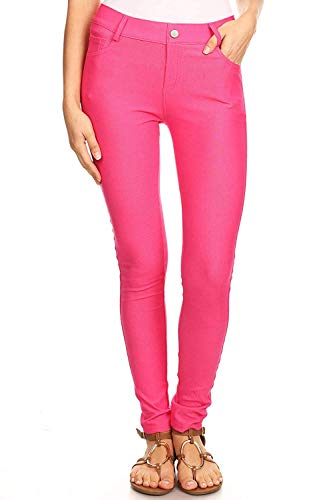 Women's Fuchsia Jeggings with Pockets Pull On Skinny Stretch Colored Jean Leggings Size Large