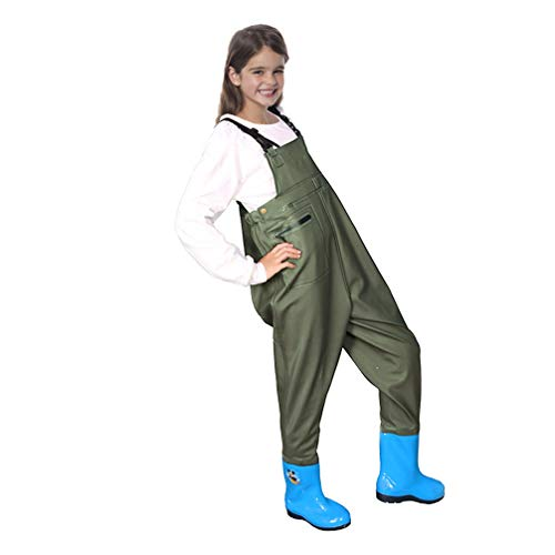 Luwint Chest Fishing Waders for Kids - Soft Neoprene Bootfoot Waders with Elastic Waist Design and Cartoon Boots for Boys and Girls (Army Green, 8.2'' Insole(9-10 Years))