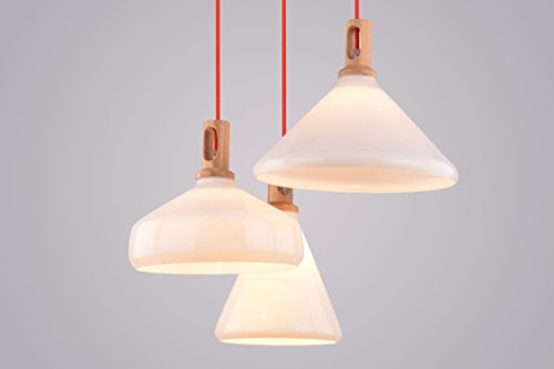 CAGUSTO Pendelleuchte Vena III 3-teilig 3er Glas Milchglas Weiß Textilkabel Rot Holz Design Hängeleuchte