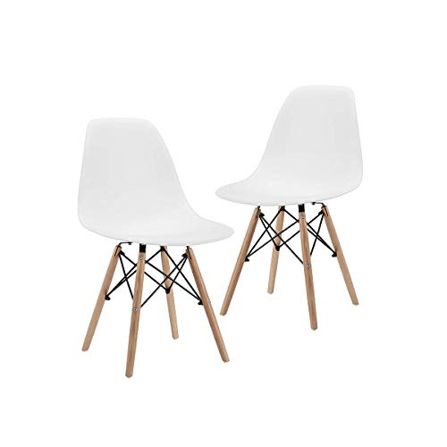 CangLong Dining Set of 2 Modern MidCentury Side Chair with Natural Wood Legs White