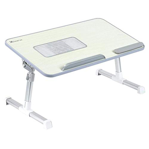 Yxsd Foldable Bed Table with USB Fan Laptop Desk Computer Desktop Adjustable Height Tray Portable Grey