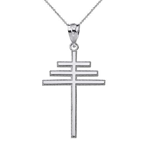Mis Tesoritos Plata esterlina Papal Cruz Collar Colgante (Longitud de Cadena Disponible 40cm- 45cm - 50cm - 55cm)
