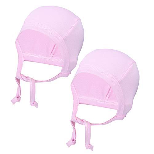 TupTam Unisex Baby Erstlingsmütze zum Binden 2er Pack, Farbe: Rosa, Größe: 50/56