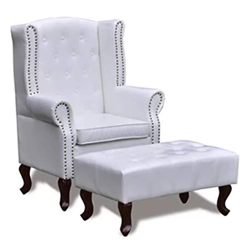 Binzhoueushopping Chesterfield-Sessel mit Armlehnen und Fußstütze, Weiß, bequem, modern, bequem und robust